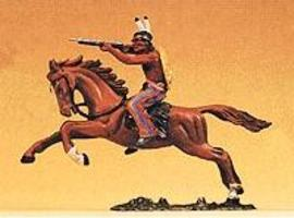Preiser Indian Warrior on Horseback Firing Rifle Model Railroad Figure 1/25 Scale #54651