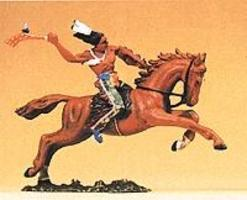 Preiser Mounted Indian Warrior with Tomahawk Model Railroad Figure 1/25 Scale #54657