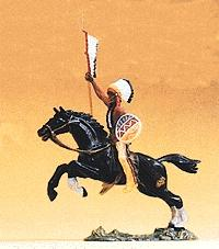 Preiser Mounted Indian Chief Carrying Spear & Shield Model Railroad Figure 1/25 Scale #54659