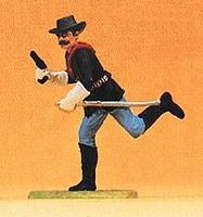Preiser US Calvary Running Trooper with Drawn Pistol Model Railroad Figure 1/25 Scale #54751