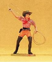 Preiser Standing Cowboy Twirling Rope Model Railroad Figure 1/25 Scale #54807
