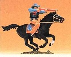 Preiser Mounted Cowboy Firing Rifle from Horse Model Railroad Figure 1/25 Scale #54821