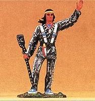 Preiser Winnetou with Decorated Rifle and Waving Model Railroad Figure 1/25 Scale #54953