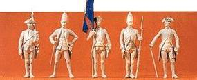 Preiser Prussian Officers, Flag Bearer, and Soldier Model Railroad Figures 1/24 Scale #57808