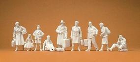 Preiser Unpainted Postwar Pedestrians Model Railroad Figures 1/35 Scale #64014