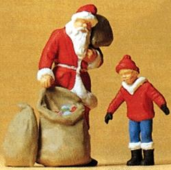 Preiser Kg Santa Claus with Toy Bag & Child -- Model Railroad Figures -- O Scale -- #65335