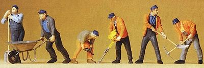 Preiser Modern Track Workers with Tools Model Railroad Figures O Scale #65336