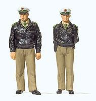Preiser Officers in Green Federal Republic of Germany Model Railroad Figures 1/45 Scale #65363
