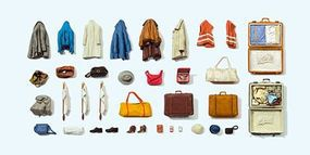 Preiser Suitcases And Bags Model Railroad Figures O Scale #65811