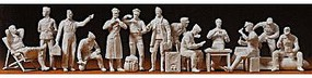 Preiser WWII German Luftwaffe Pilots & Ground Crew Model Railroad Figures 1/48 Scale #67001