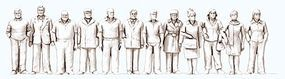 Preiser Unpainted Standing People Model Railroad Figures 1/50 Scale #68291