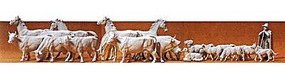 Preiser Horses, Cows, and Sheep Model Railroad Figures 1/72 Scale #72511