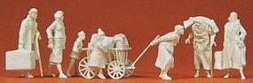 Preiser WWII Walking Refugees with Luggage Model Railroad Figures 1/72 Scale #72531