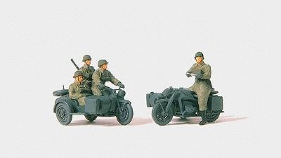 Preiser Kg German Army WWII Motorcycle Troops -- Model Railroad Figures -- 1/72 Scale -- #72538