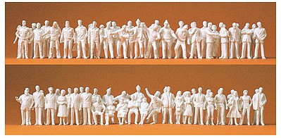 Preiser Assorted Unpainted Pedestrians Model Railroad Figures 1/100 Scale #74090