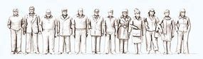 Preiser Unpainted Standing People - 6 Men & 6 Women Model Railroad Figures 1/100 Scale #74091