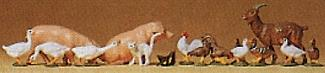 Preiser Geese, Chickens, Cat, Pigs, Goat Model Railroad Figures 1/120 Scale #75014