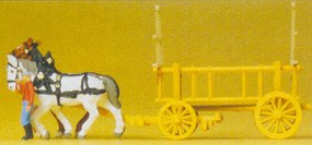 Preiser N Horse Drawn Hay Wagon w/Woman Walking