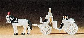Preiser Horse-Drawn White Open Carriage Model Railroad Vehicle N Scale #79479