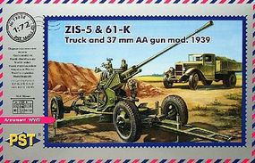 PST ZIS5 Truck w/37mm AA Gun Plastic Model Artillery Kit 1/72 Scale #72028