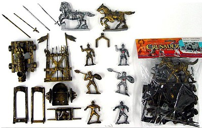 Playsets 1/32 Crusader Knights Figure Playset (6 w/Weapons, Rack, Cannon & 2 Horses) (Bagged)