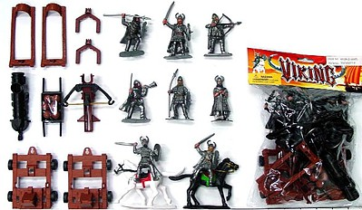 Playsets 1/32 Vikings & Armor Figure Playset (6 w/Weapons, 2 Horses, Crossbow Launcher & Cannon) (Bagged)