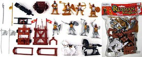 Playsets 1/32 Russian Knights Figure Playset (8 w/Weapons, Catapults & 2 Horses) (Bagged)