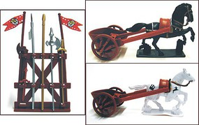Playsets 1/32 Roman Chariot Playset (2 w/2 Horses, Weapons) (Bagged)