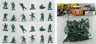 Playsets 1/32 WWII US Infantry Figures (24 Green) (Bagged)