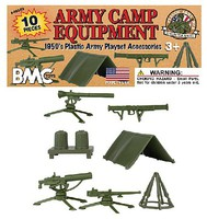 Playsets 54mm Army Camp Equipment Playset (10pcs) (Bagged) (BMC Toys)