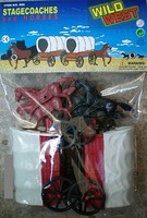 1/32 Wild West Covered Wagons (2) w/4 Horses Playset (Bagged)