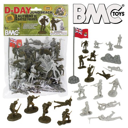 Playsets 54mm D-Day Juno Beach German & Canadian Figure Playset (33pcs) (Bagged) (BMC Toys)