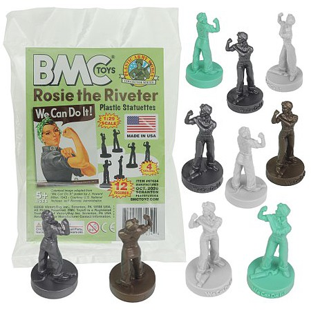 Playsets 54mm Rosie the Riveter Figure Set (White/Silver/Brown/Turquoise) (12pcs) (Bagged) (BMC Toys)