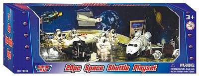 Playsets 54mm Space Shuttle w/Astronauts, Moon Buggy etc. (20pcs) (Plastic w/Die Cast Acc) (MotorMax)