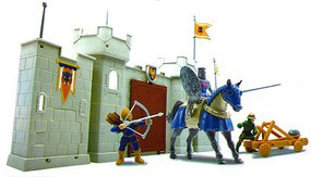 Playsets 1/32 King Knight & Castle Wall Playset (3 figures, weapons, horse & castle section) (Window-Boxed)