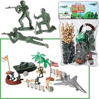 Playsets 1/32 US Military Strike Force Deluxe Playset (Figures, Tank, Aircraft & acces. 60pc Total) (Bagged)