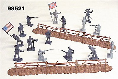 Playsets 54mm Gettsyburg Fence & Union/Confederate Figure Playset (55pcs) (Bagged) (Americana)