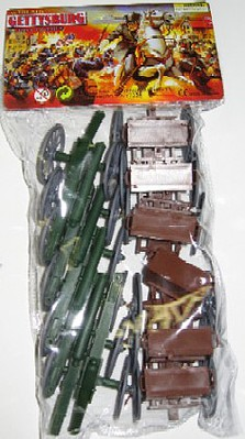 Playsets 54mm Gettysburg Cannon & Limber Wagon Set (12pcs) (Bagged) (Americana)
