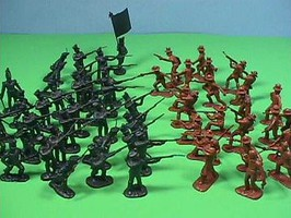 54mm Alamo Texian Soliders & Mexican Troops Figure Playset (50pcs) (Bagged) (Americana)