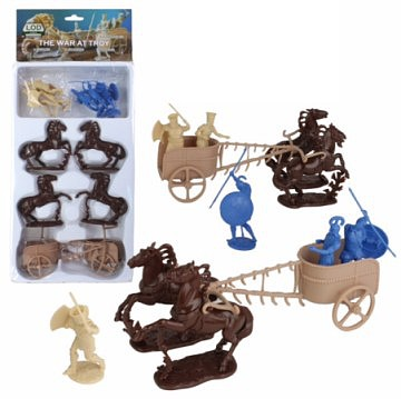 Playsets 1/32 The War at Troy Set #2 Figure Playset- Greeks & Trojans (6), Horses, Chariots (Bagged) (LOD Enterprises)