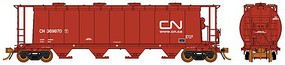 Rapido 3800 Cu. Ft. Cylindrical Covered Hopper 6-Pack Ready to Run Canadian National Set #1 (Mineral Brown, white, Website Noodle Logo)