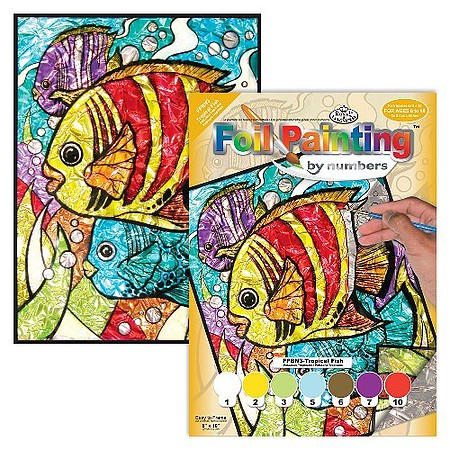 Royal-Brush Tropical Fish Foil Paint by Number Ages 8+ (8x10)