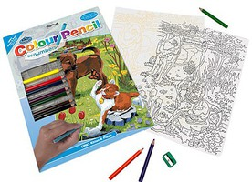 Royal-Brush Kitten & Puppy (8.75x11.75) Pencil By Number Kit #41902