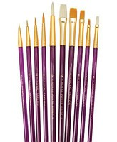 Royal-Brush Assorted All Media Gold Taklon/Bristle Brushes 10pc Value Pack