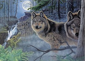 Royal-Brush Mystical Moonlight (Wolves)(11.25''x15.375'') Paint By Number Kit #94348