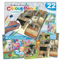 Royal-Brush Animals (Pets) Pencil by Number 22pc Activity Set (4 Projects) Age 8+ (8''x10'')