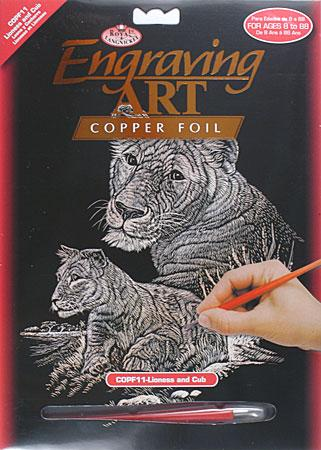 Royal Brush Manufacturing Copper Engraving Art Lioness & Cub -- Scratch Art Metal Art Kit -- #copf11