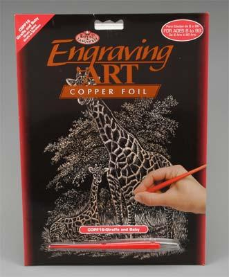 Royal Brush Manufacturing Copper Foil Engraving Art Giraffe & Baby -- Scratch Art Metal Art Kit -- #copf16