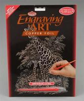 Royal-Brush Copper Foil Engraving Art Giraffe & Baby Scratch Art Metal Art Kit #copf16