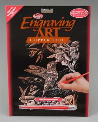 Royal Brush Manufacturing Copper Foil Engraving Hummingbird -- Scratch Art Metal Art Kit -- #copf17